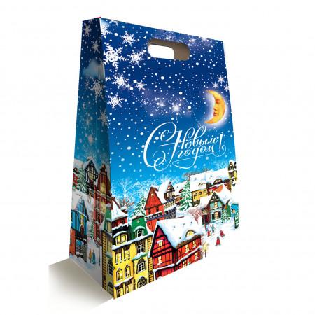 """Сладкий детский новогодний подарок """"Зимний вечер"""" 1000 грамм в упаковке из картона в комплектации эконом."""