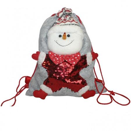 """Мешок-рюкзак с пайетками """"Снеговик"""" 1500 грамм элит"""
