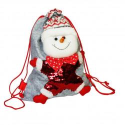 Мешок-рюкзак с пайетками «Снеговик» 1500 грамм премиум