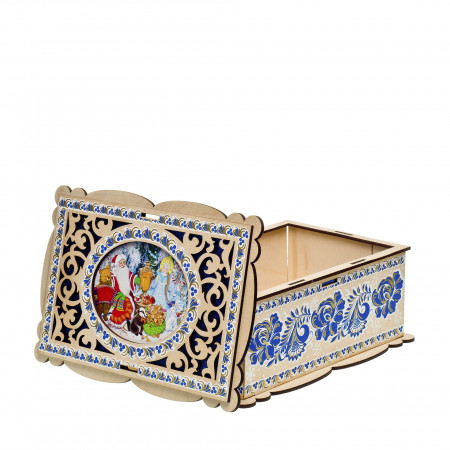 Сладкий новогодний подарок Шкатулка резная 600 грамм стандарт