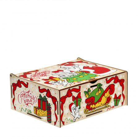 Сладкий новогодний подарок Шкатулка с сюрпризом 600 грамм премиум