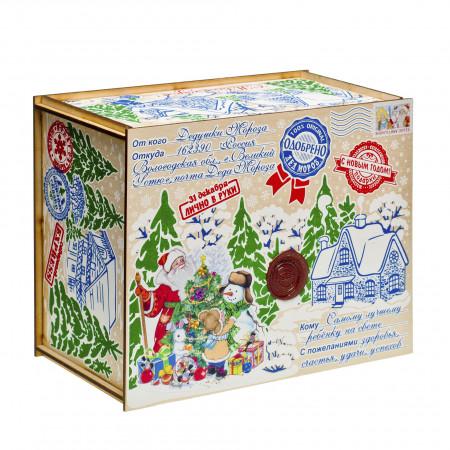 Сладкий новогодний подарок Посылка от Деда Мороза Стикер 1300 грамм премиум