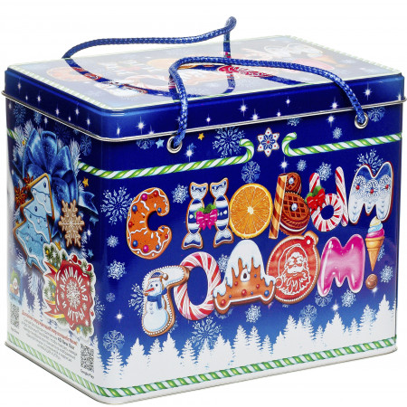 Сладкий новогодний подарок Короб Синий 1500 грамм премиум
