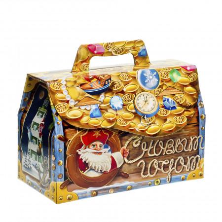 Сладкий новогодний подарок Золотой сундучок 1300 грамм элит