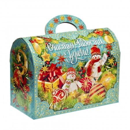 Сладкий новогодний подарок Сундук с орнаментом 1100 грамм элит