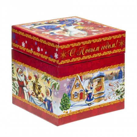 Сладкий новогодний подарок Куб Дед Мороз и дети 800 грамм стандарт