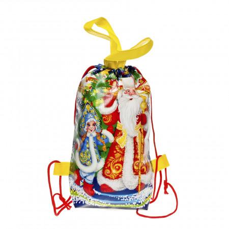 Сладкий новогодний подарок Рюкзачок Дед Мороз и Снегурочка 1000 грамм стандарт