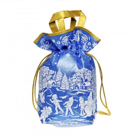 Сладкий новогодний подарок Мешочек глитер с двумя ручками синий/золотой 800 грамм элит