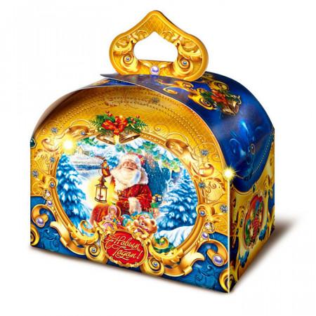 """Сладкий детский новогодний подарок """"Дед Мороз с фонариком"""" 900 грамм в картонной упаковке в элитной комплектации."""