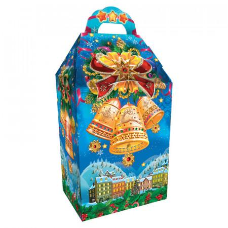 Сладкий детский новогодний подарок в в упаковке из микрогофрокартона Бубенцы 1020 грамм в комплектации эконом