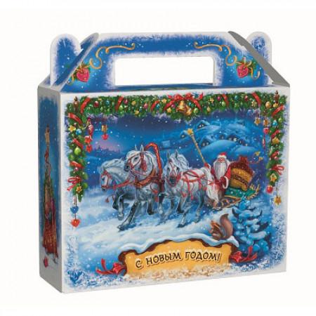Сладкий новогодний подарок Зима 900 грамм в упаковке из микрогофрокартона комплектации эконом.