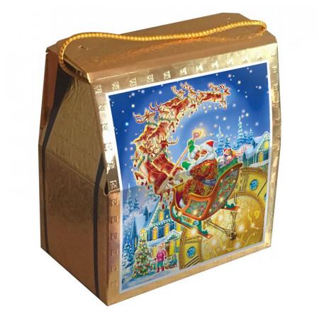 """Сладкий детский новогодний подарок """"Золотой подарок с золотым тиснением"""" 1200 грамм упаковке из микрогофрокартона в элитной комплектации"""