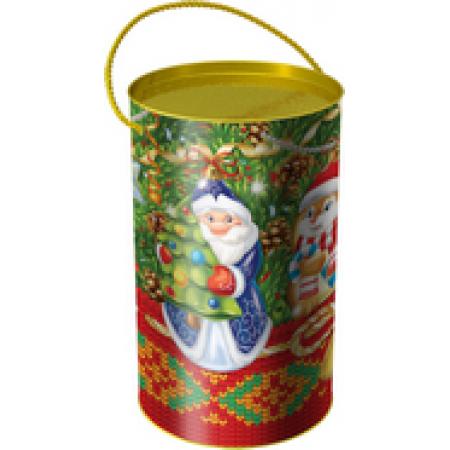 """Сладкий детский новогодний подарок в тубе """"Дед Мороз"""" в элитной комплектации"""