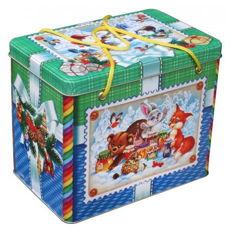 """Новогодний сладкий подарок """"Новогодняя шкатулка"""" 1400 грамм"""