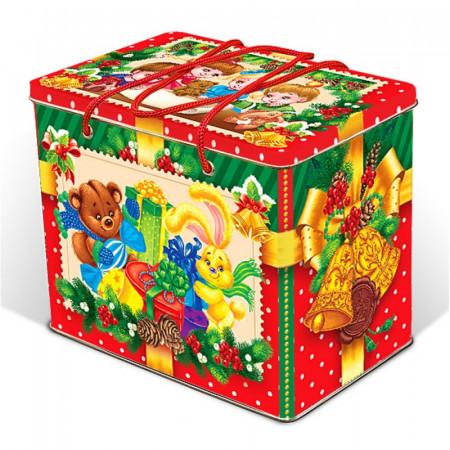 """Сладкий детский новогодний подарок """"Веселые зверушки"""" 1400 грамм в элитной комплектации"""